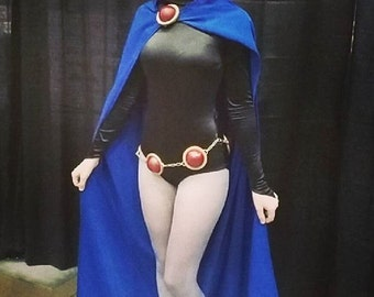Raven Teen Titans Cloak and Accessories - custom costume, blue cloak, bodysuit, cosplay, adult costume, leotard, orb belt, orb pins, anime