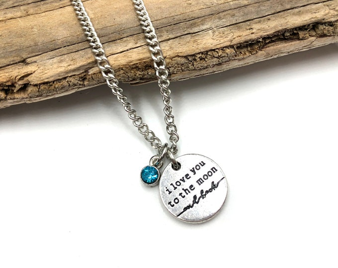 TO THE MOON: birthstone necklace