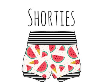 PREORDER watermelon shorties, watermelom bummies, baby fruit shorts, watermelon baby shorts, fruit print shorts, baby bummies, fruit bummies