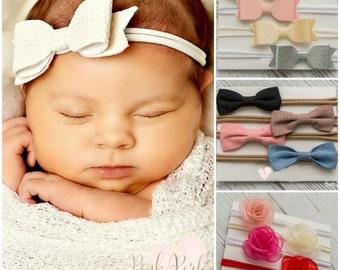 Baby Headbands SET of 4 | Small Bows | Nylon Headbands | Baby Bows |Baby Headband| Leather Hair Bows Set,Newborn Headbands,Toddler Headbands