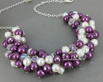 Ivory and Sangria Necklace Bridesmaid Gift Pearl Jewelry Bridesmaid Necklace Bridal Jewelry Plum Necklace Sangria Jewelry