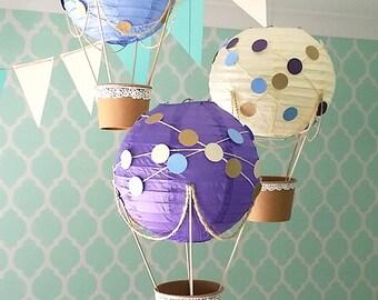 Whimsical Hot Air Balloon Decoration DIY kit PURPLE , Nursery Decor , Baby Shower Decor , Travel Theme, Hot Air Balloon - set of 3