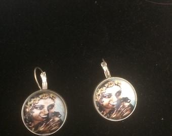 Josephine Baker Flowers Silver Round Earrings for Pierced Ears