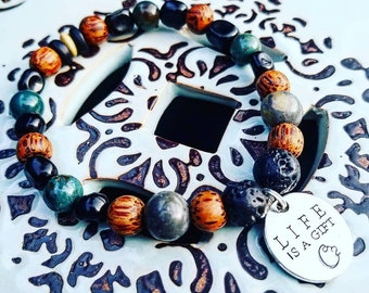 Wooden Beads, Healing, Handmade, Beaded Bracelet, Lava Stones, Aromatherapy, Stretchy Wire, Unique, One Of A Kind, Green Beads, Beads, Oils