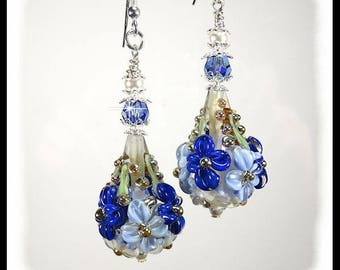 Blue Flower earrings, blue floral earrings, blue earrings, crystal earrings, gifts for her, birthday earrings