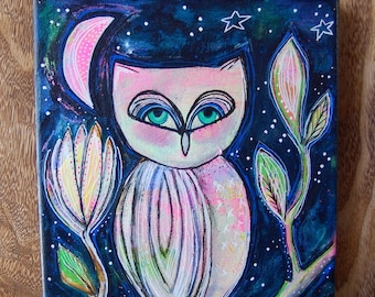 Pink Moon Owl / Mixed Media Painting