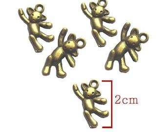 Bronze bear charm pendant. Size 10X20mm to create a pendant, bracelet.. .bijoux. Set of 5Pcs