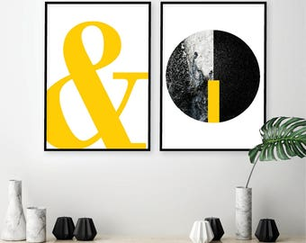 Downloadable Set of 2 Prints Yellow Black Ampersand Minimalist Scandinavian Modern Scandi Poster Affiche Wall Art Decor Digital Download