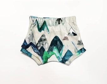 Call Of The Mountains Baby Shorts, Newborn Shorts, Toddler Mountain Shorts, Organic Baby Shorts, Going Home Shorts, Boy Girl Shorts Shorties