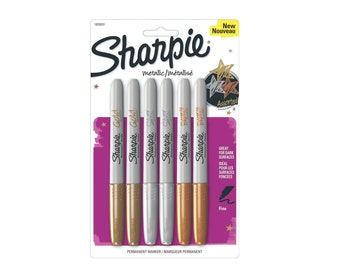 Metallic Sharpie Permanent Marker Fine Point Tip 6 Pack; Gold, Silver and Bronze Sharpie; Sharpie Metalic Drawing, Arts, Crafts Markers