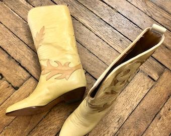 1980s beige & camel cowboy boots / 36 ~ 38 ~ 39 1/2