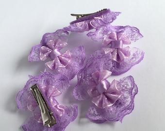 5 piece purple lace bow clips set