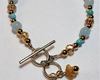Dragonfly Charm Bracelet, Boho, Turquoise and Gold