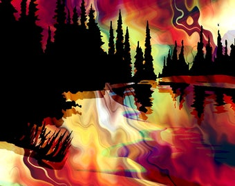 Artist Made Bright Red Sunset Fire Sky 4 Fabric 100% Cotton Sateen Art Prints Landscape Trees Quilting Craft