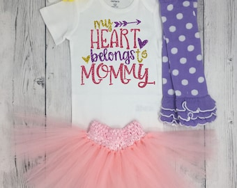 My heart belongs to mommy, Happy Mothers Day Outfit Baby Girl, Lavender tutu, leg warmers, headband, 1st Mother's day, outfit for pictures