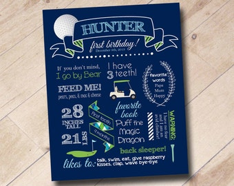 First Birthday Golf Themed Stats Poster Print