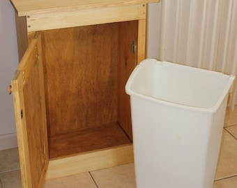 TRASH CAN BIN with hinged top and front. No lifting