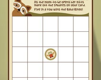 Woodland Baby Bingo, printable baby shower games, Lambs and Ivy Echo theme