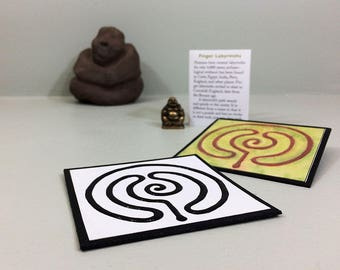 DIY finger labyrinth. Printable download of a mini labyrinth with a raised path & guidance booklet. Self care, group craft activity.