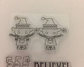 Clear mini cling rubber stamps Christmas elves