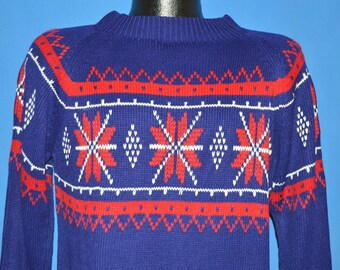 70s JC Penney Snowflake Skiing Sweater Medium