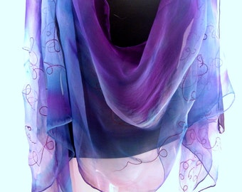 Blue Silk Scarf, Hand Painted Silk Scarf, Purple Sky Blue, Abstract Swirls, Handpainted Silk Chiffon Scarf, Gift For Her, Gift Under 50