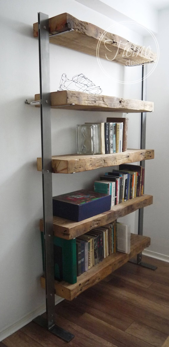 Reclaimed Wood Bookcase Wood and Metal Shelves Industrial