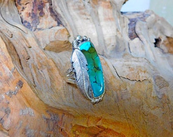 Coffee Stain Natural Turquoise Feather Ring RF939
