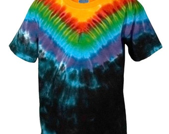 Tie Dye T Shirt in Rainbow and Black in Plus Sizes