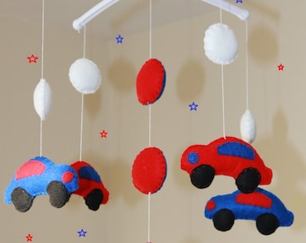 Sale! musical mobile royal blue and red car cot mobile vehicle mobile car nursery decor