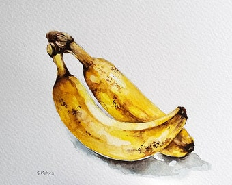 Original Watercolor Painting, Banana Art, Fruit Painting, Kitchen Decor 6x8 Inch