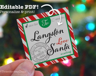 Santa Gift Tags | Printable Gift Tags | Red Stripes | Personalized Tags | Editable PDF