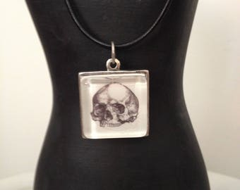 square skull pendant with leather choker necklace