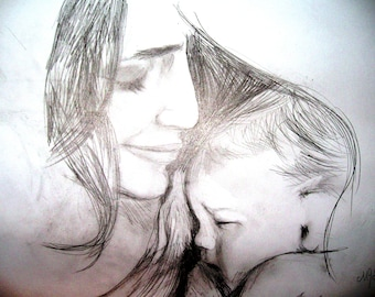 Mother with child handmade drawing