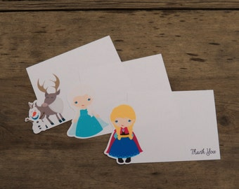 Frozen Friends Party - Set of 8 Assorted Snow Princess Thank You Cards by The Birthday House