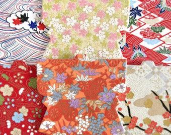 SALE! Barware Kimono Washi Paper Coasters Yuzen Technique, NIB, Reusable, Set of 6 Assorted, Cherry Blossoms, Maple Prints, Made in Japan