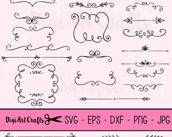 Boarder clipart, Ribbons, Calligraphy, Boarder, DIY Logo Set, Arrow Clip art for scrapbooking, wedding invitations, Small Commercial Use