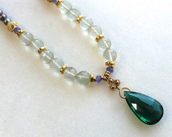 Bold Radiant Prasiolite, Green Quartz Pendant Necklace with FW Pearls in 22kg vermeil...