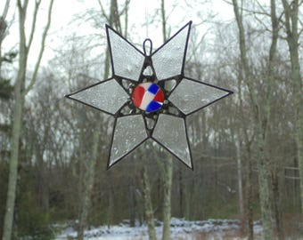 Red white blue star, Stained glass star suncatcher ornament, USA Patriotic star, fused glass star, 4th of July, American star