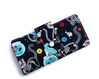 Black wallet, Crazycatlady wallet, handmade wallet, women wallet, vegan wallet, custom wallet, wallet, purse, cat wallet, funky wallet,