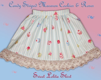 LAST - Candy Striped Macaron Cookies & Roses Sweet Lolita Skirt - Blue - ANY SIZE