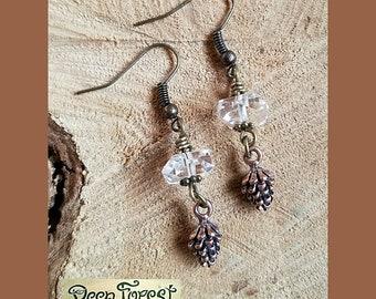 Herkimer Diamonds, Copper Pinecones, Ear Decor