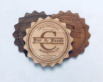 Save the Date Magnet Cards for Wedding made of Wood, Save the Date Announcements, Unique Save the Date Invitations