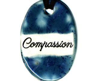 Compassion Ceramic Necklace in Blue