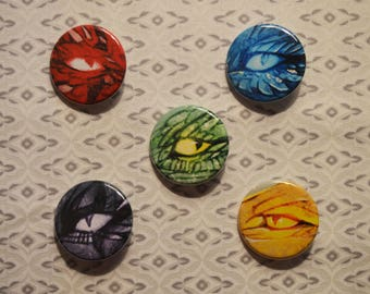 Five Eyes of Alagaësia's Dragons Button Set - Inheritance Cycle