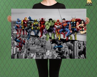 Superheroes Having Lunch on the Girders, New York Skyline, Fandom Art, Custom Raised Canvas Art Piece