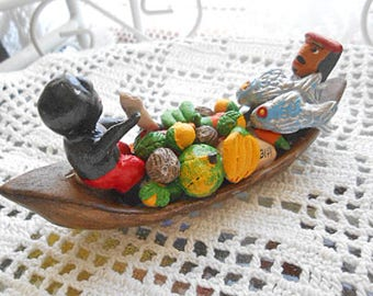 Clay FRUIT & FISH CANOE 2 Men Bananas Melons Fresh Catch Market Day Columbia Folk Art Pottery Travel Souvenir Handmade Vibrant Painted Color