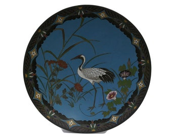 """Antique Japanese Cloisonne Charger Plate. 12"""" Blue Enamel and Brass Wall Hanging Platter. Oriental Home Decor."""