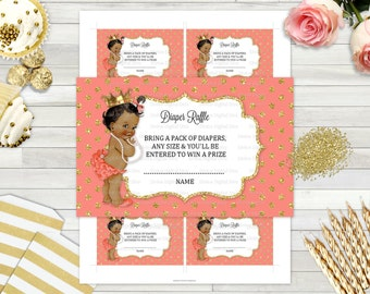 Diaper Raffle Tickets | African American Princess Gold & Coral Peach Polka Dots | Digital Instant Download