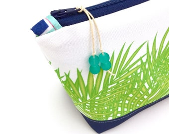 Tropical Leaves + Navy Make up Bag, Large Recycled Zipper Pouch, Diaper Bag Organizer, Eco Cosmetics Bag, Glass Beads, Gift For Mom, Palms